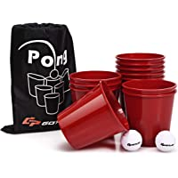 Goplus Yard Pong, Giant Pong Game Set with 12 Buckets, 2 Balls and a Carry Bag, Outdoor Toss Game for Beach, Backyard, Lawn, Party, Camping, Tailgate Game for Family and Friends