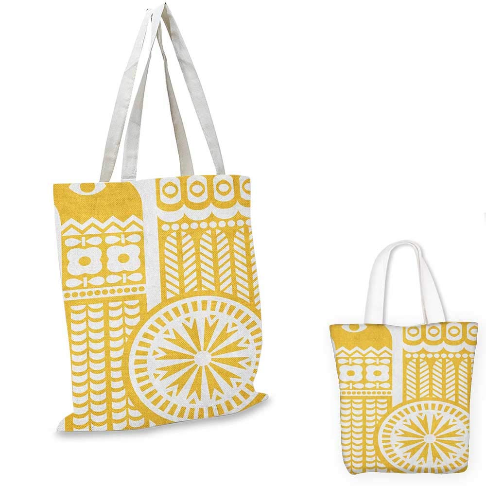 14x16-11 Yellow and White canvas messenger bag Abstract Bird in Scandinavian Folkloric Style Retro Design Floral Motif canvas beach bag Mustard White