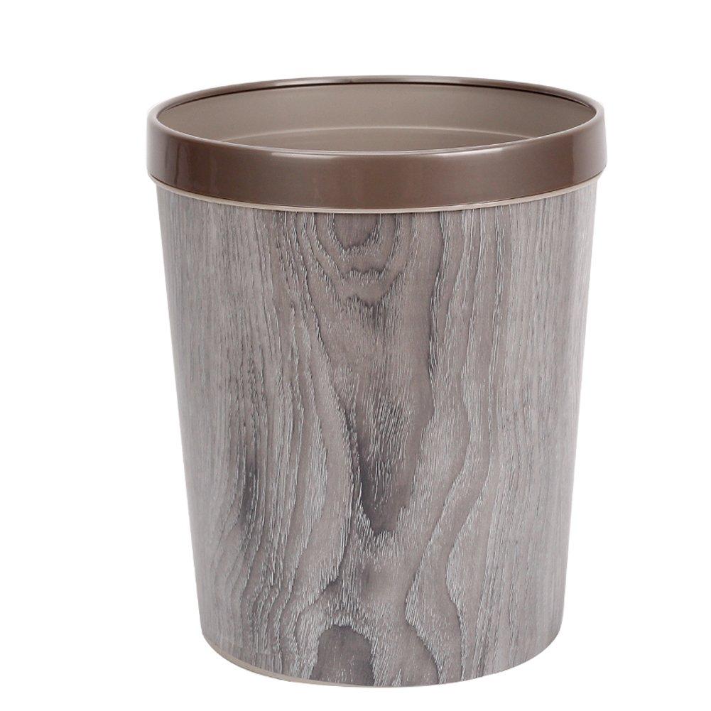 Peacewish European Trash Can Imitation Wood Grain Plastic Waste Basket Office Bathroom Kitchen Household Large Trash Can (gray)