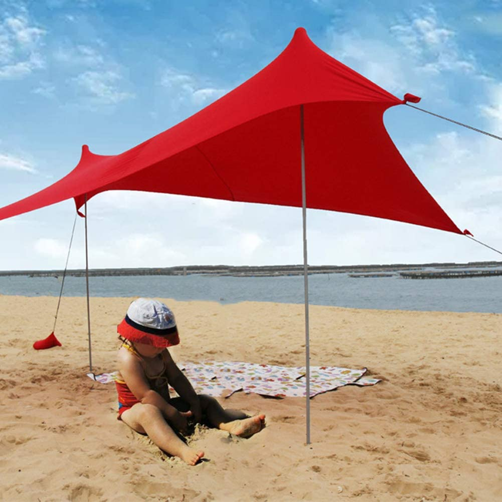 Playa Shade Garden Outdoor Plegable Carpa port/átil Refugio Camping Iron Poles Yard con Saco Arena GH Stretch Fishing Family Azul