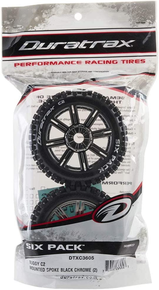 Duratrax Punch Buggy C2 Mounted Buggy Spoke Tires DTXC3602 Chrome 2