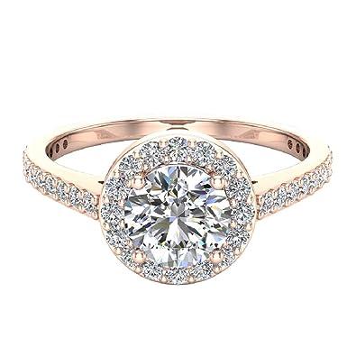 1 15 Ctw Dainty Halo Diamond Engagement Ring 14k Gold Gia