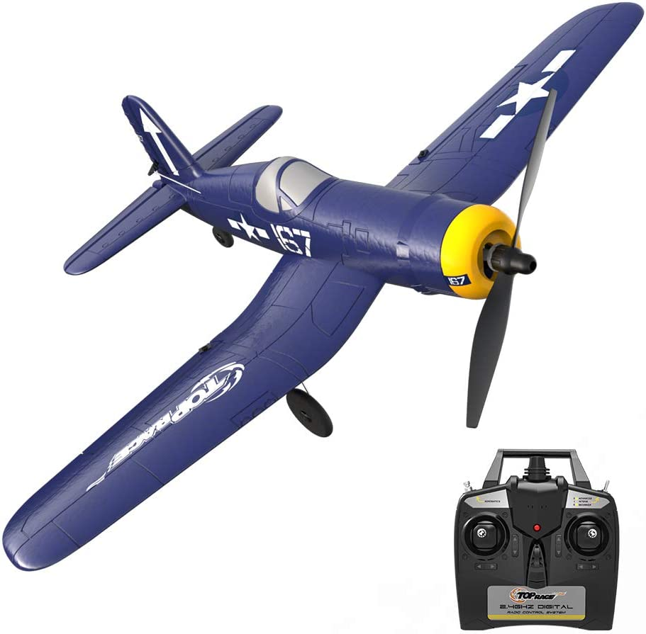 Top Race Rc Plane 4 Channel Remote Control Airplane Ready to Fly Rc Planes for Adults, Remote Control War Plane F4U Corsair with Propeller Saver (TR-F4U)
