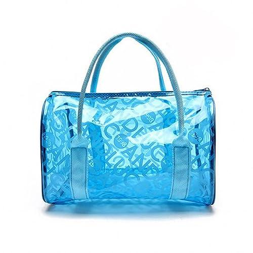 Mengonee Impermeable a prueba de humedad muchacha de las mujeres del bolso de la playa bolsas de mano portátiles transparentes cierre de cremallera de ...