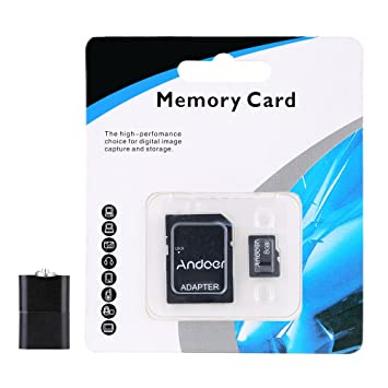 Andoer®8GB Clase 10 Tarjeta de Memoria TF Card + Adaptador + ...