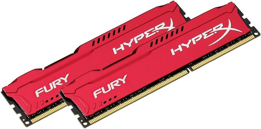 HyperX HX316C10FRK2/16 Fury 16 GB (2 x 8 GB), 1600 MHz, DDR3, CL10, UDIMM, 1.35V, Rosso