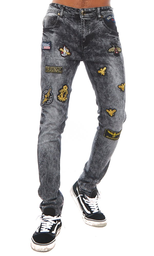 ''Beez'' Gold Leaf Grey Jeans 34