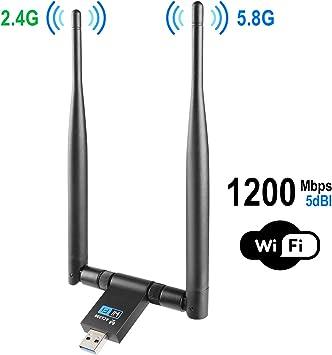 VANZEV WiFi Adaptador de Red USB, Doble Banda AC 1200 (5.8G ...