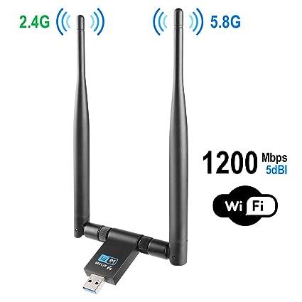 1200Mbps 2.4GHz//5.8GHz Dual Band 802.11ac Wireless USB 3.0 WIFI Adapter Anten JL