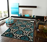 Large Living Room Rugs Large Luxury Contemporary Rugs 8x11 Blue Rugs For Living Room 8x10 Rug Washable Blues Black Ivory Soft Rugs For Bedrooms Prime Clearance, 8x11 Rug