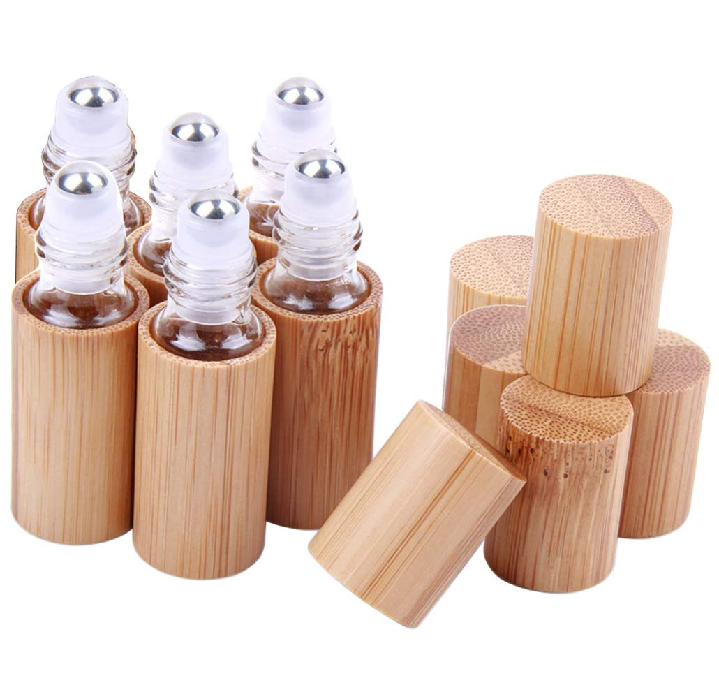 6 Pcs 5ml Bamboo Roll On Bottle For Essential Oils,Clear Glass Inner with Natural Bamboo Wooden Shell,Portable Massage Stainless Steel Roller Ball Glass Vial Aromatherapy travel Perfumes Bottles