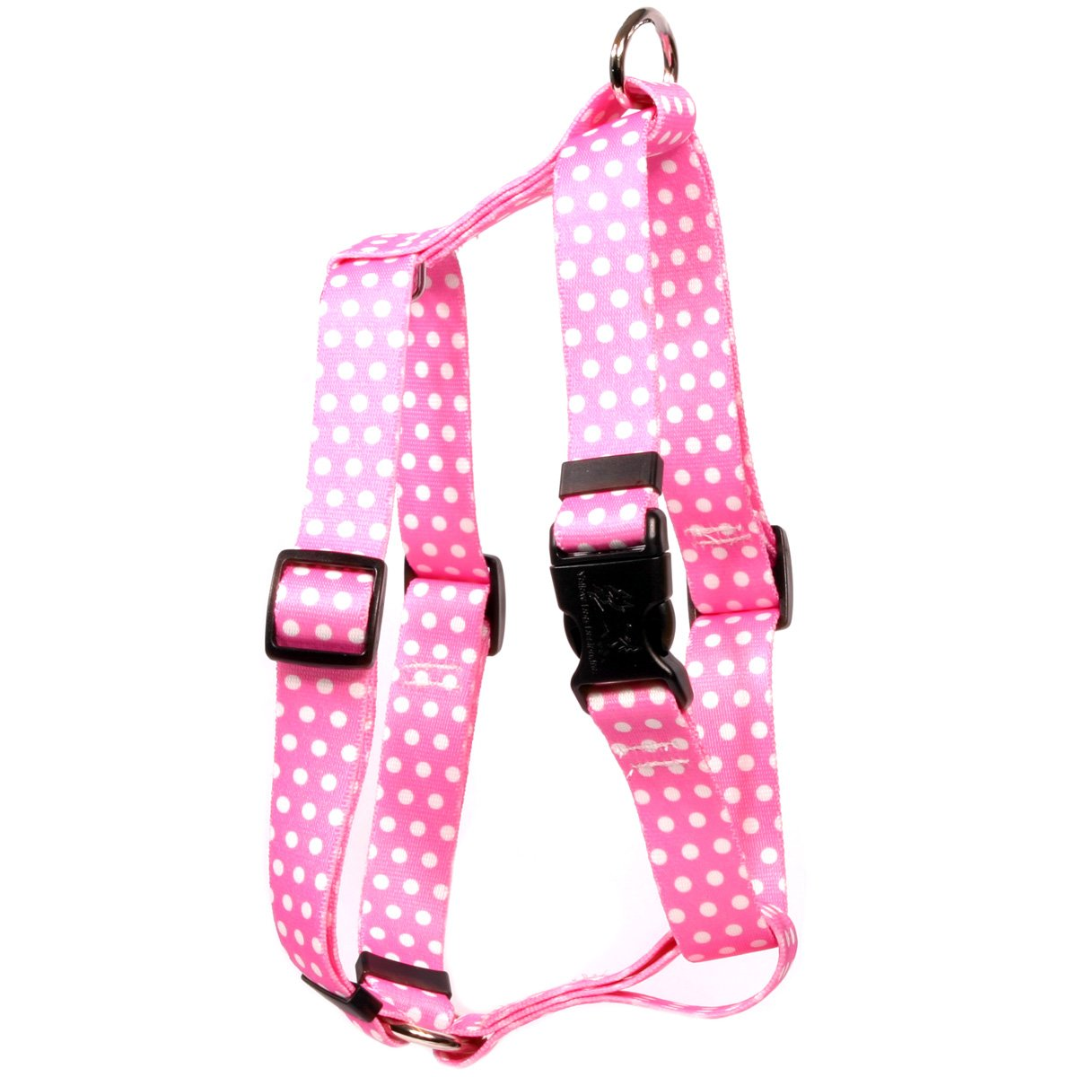 Yellow Dog Design New Pink Polka Dot Roman Style H Dog Harness, Large-1'' Wide and fits Chest of 20 to 28''