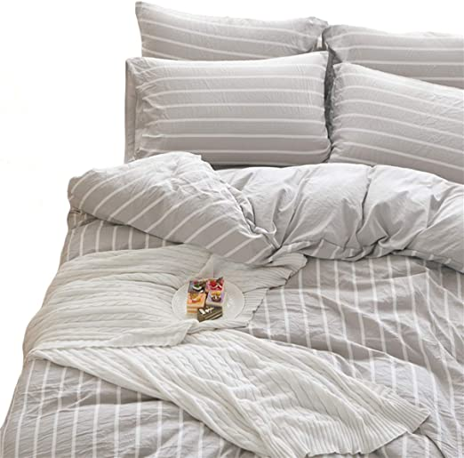 Amazon Com Doldoa Washed Cotton Duvet Cover Queen 90x90 Inch