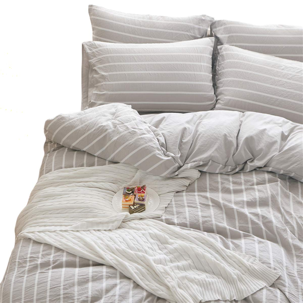 DOLDOA Washed Cotton Duvet Cover Queen (90x90 inch),Grey Striped Comforter Cover Lightweight and Soft Bedding Set,3 Piece (1 Duvet Cover + 2 Pillow Shams), Zipper Closure and Easy Washing