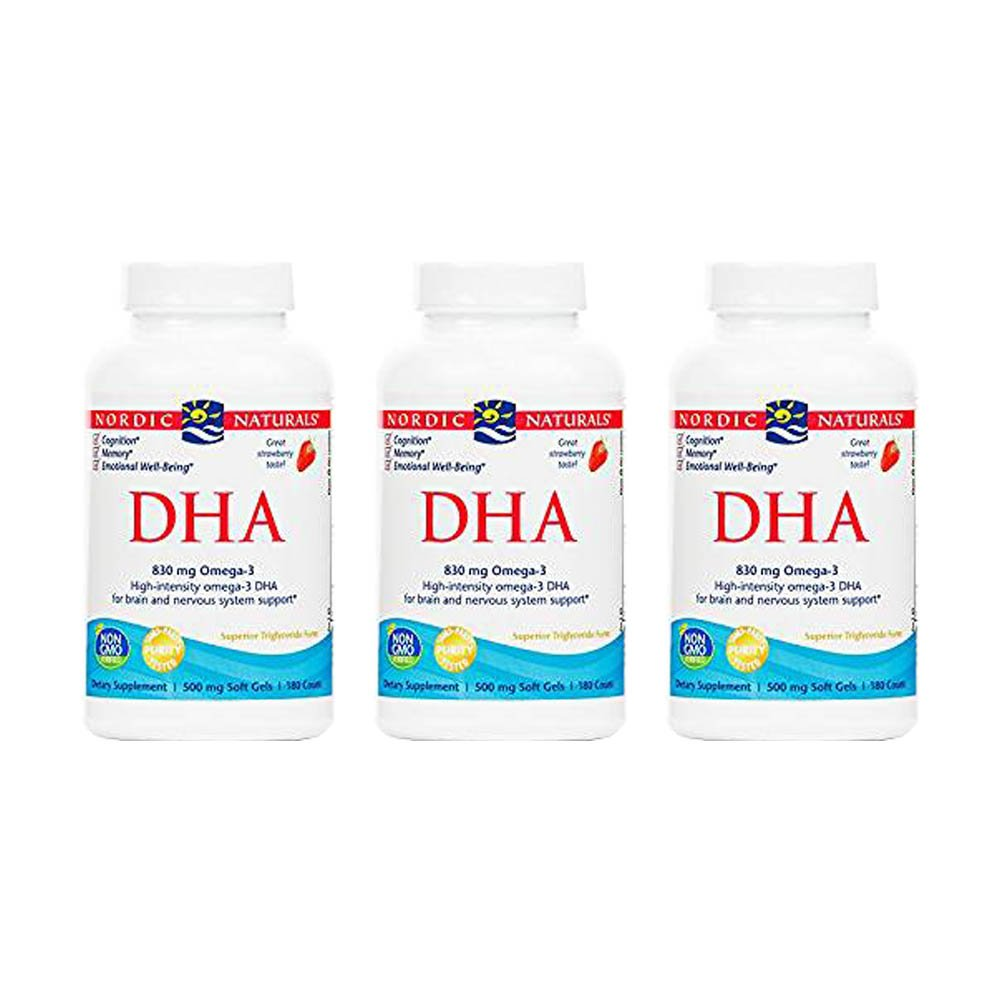 Nordic Naturals DHA Strawberry, Strawberry 180 softgels 500 mg(Pack of 3)