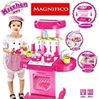 Magnifico® Battery Operated Kitchen Play Set for Kids with Roll Play Kitchen Set Carry Case, with Led Lights & Sound (Multi Color)