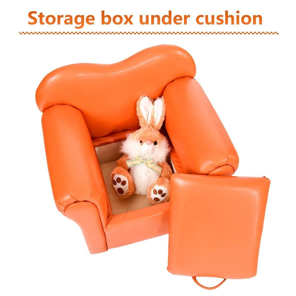 Costzon Kids Sofa, PU Leather Upholstered Armrest, Sturdy Wood Construction, Toddler Chair (Orange Sofa with Storage Box) by Costzon (Image #2)
