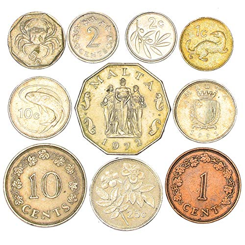 10 Maltese Coins 2 MILS - 50 Cents Malta Coins Collection from 1972. Perfect Choice for Your Coin Bank, Coin Holders and Coin Album (Best Albums Of 1972)