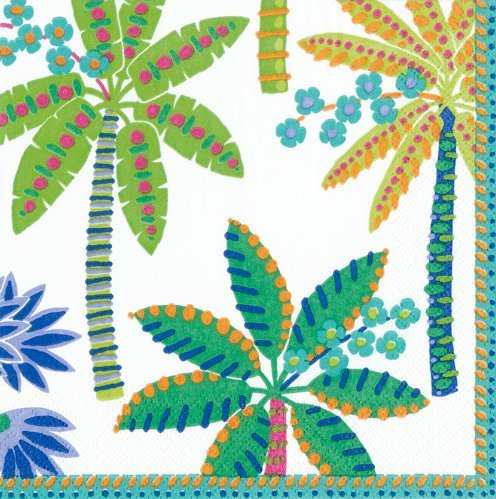 Caspari Napkins Luau Party Hawaiian Theme Paper Napkins Luncheon/Dessert Napkins Palms Green Pk 40 -