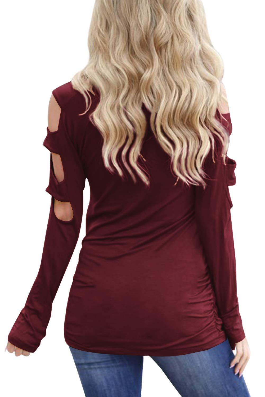 Eanklosco Damen Lange Ärmel V-Ausschnitt Kalte Schulter Ausgeschnitten T-Shirts Beiläufig Tunika Tops (XL, Weinrot)