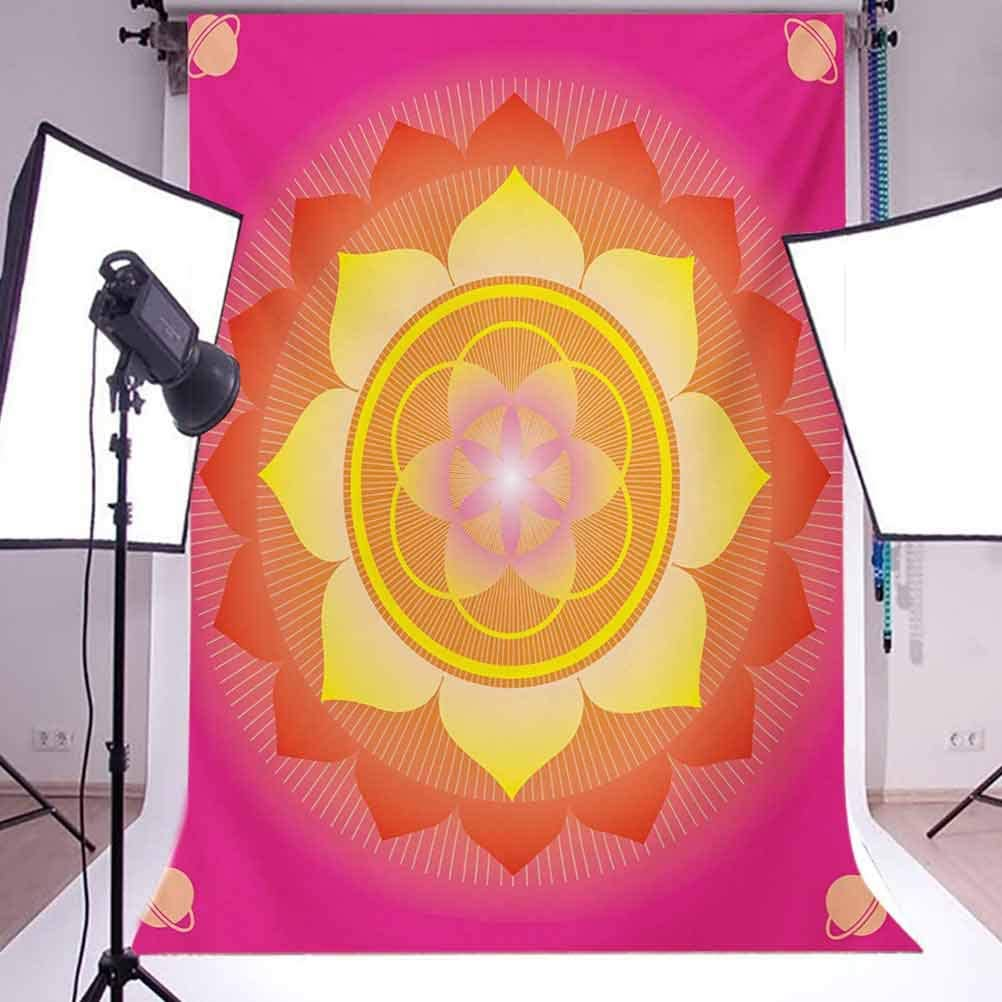 Lotus 10x15 FT Photography Backdrop with Planet Figures Cosmos Galaxy Themed Graphic Art Print Background for Photography Kids Adult Photo Booth Video Shoot Vinyl Studio Props Hot Pink Yellow Red
