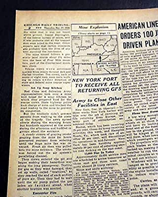 FOURMILE (Pineville) KY Bell County Kentucky Coal Mine EXPLOSION 1945 Newspaper CHICAGO DAILY TRIBUNE, December 27, 1945