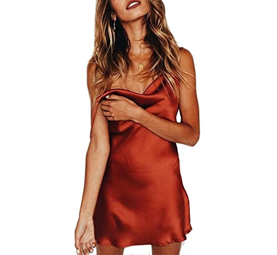 8e9b0d7884c3 OAKBaby Women Sexy Mini Dresses Satin Spaghetti Strap Tank Top Backless  Sleeveless Bodycon Solid Color Casual