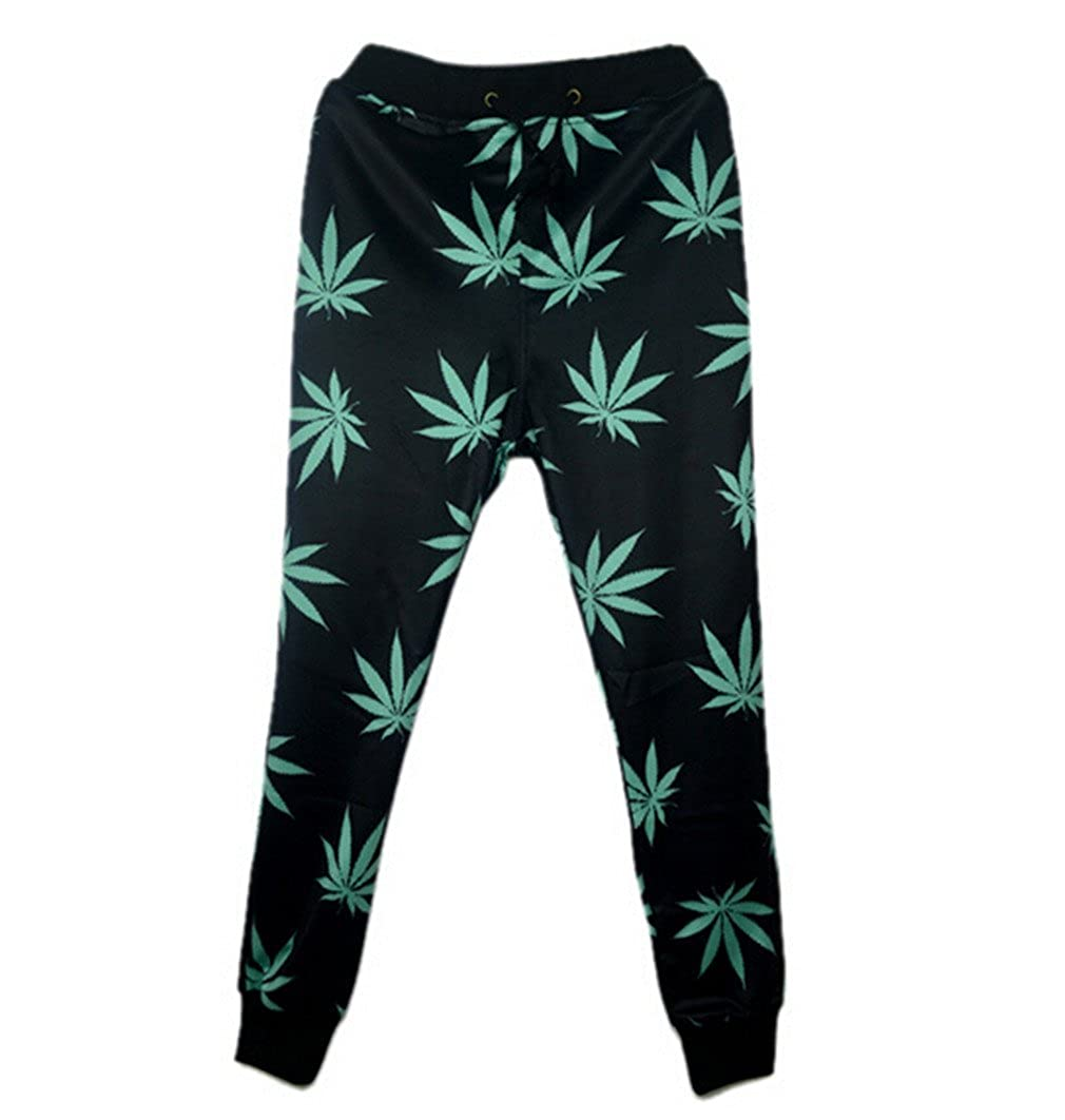 CNSKKDOW 3D Weed Leaf Sweatpants for Mens/Womens Hip Hop Style Trousers