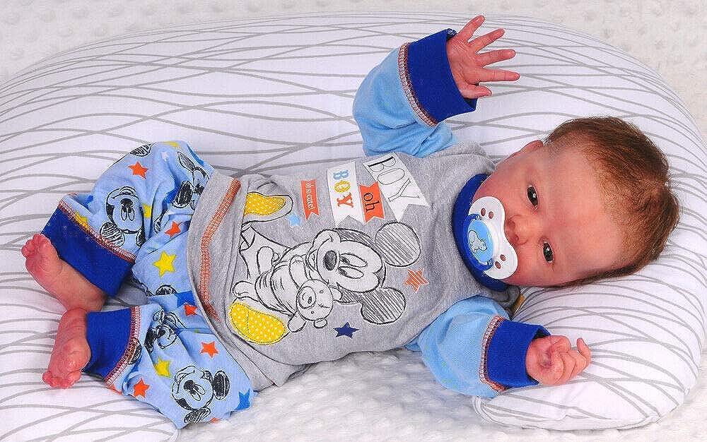 Baby Pyjama Schlafanzug Set 62 68 74 80 86 Shirt Hose Blau Mickey Mouse
