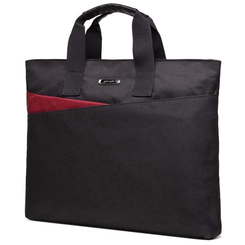SHENWE Business Document Bags Case Portfolio Organizer Business Zipper Handbag Briefcase for Office Meetings Travel(Black)
