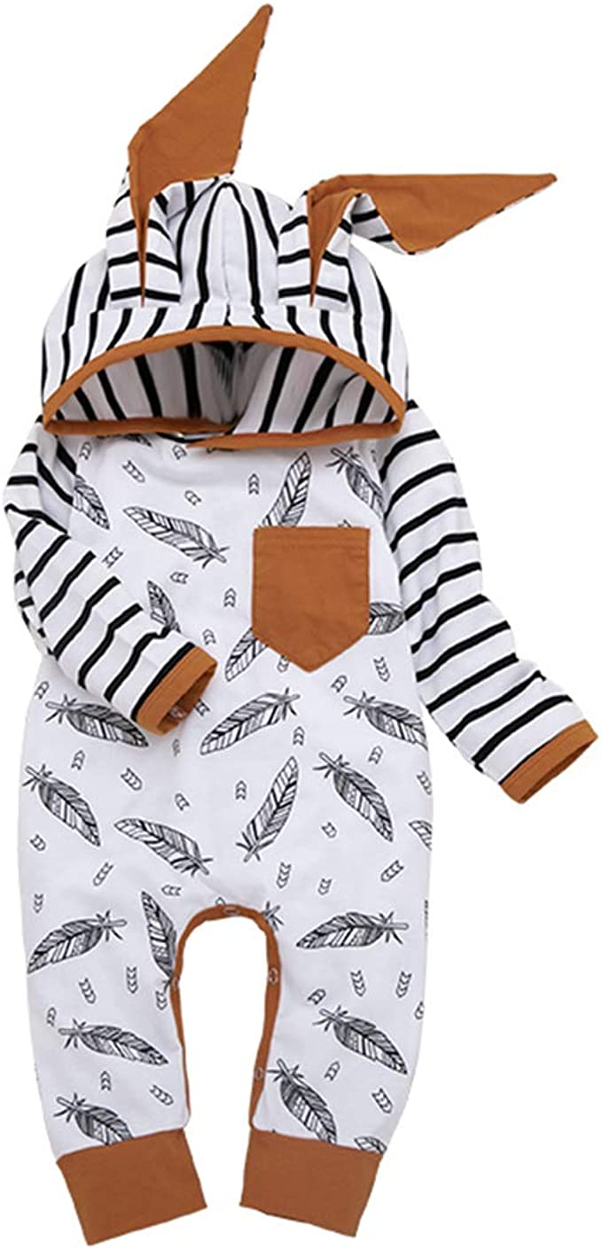 0-12Months,SO-buts Infant Baby Boys Girls Long Sleeve Striped Elephant Print Bodysuit Romper Jumpsuit Clothes