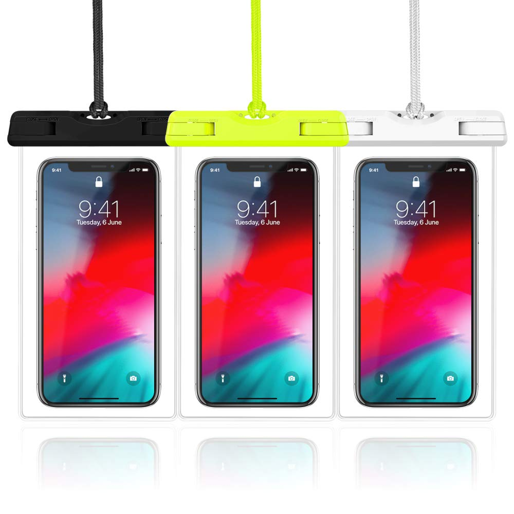 Waterproof Case, Veckle 3 Pack Travel Waterproof Phone Pouch Universal Clear Water Proof Dry Beach Bag for OnePlus 7, iPhone X 8 7 6S 6 Plus Samsung Galaxy S9 S8 S7 Black White Green by Veckle