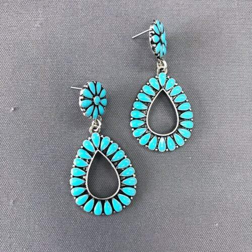 (Phetmanee Shop Turquoise Color Flower Petal Design Teardrop Shape Drop Dangle Post Earrings)