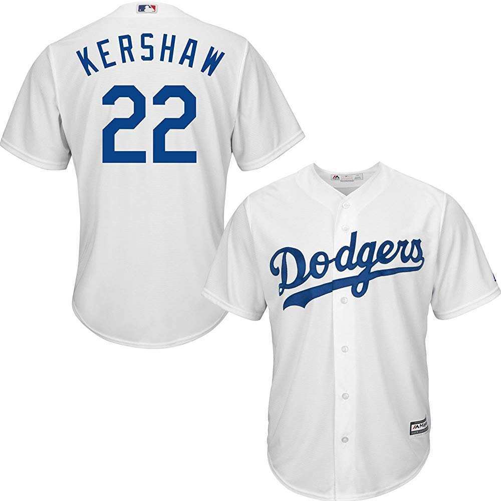 Amazon.com  Clayton Kershaw Los Angeles Dodgers MLB Majestic Youth White  Home Cool Base Replica Jersey (Youth Medium 10-12)  Clothing 616defd5b60