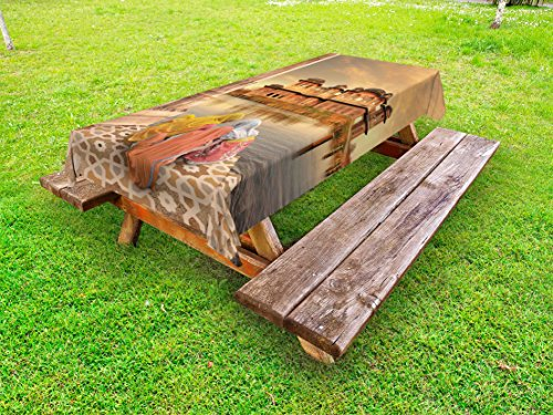 Lunarable Ancient Outdoor Tablecloth, Girls Near Traditional Oriental Building Antique Meditation Zen Lands Image Print, Decorative Washable Picnic Table Cloth, 58 X 120 inches, Sand Brown by Lunarable