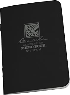 """product image for Rite in the Rain All-Weather Stapled Notebook, 4 5/8"""" x 7"""", Black Cover, Universal Pattern, 3 Pack (No. 771FX)"""