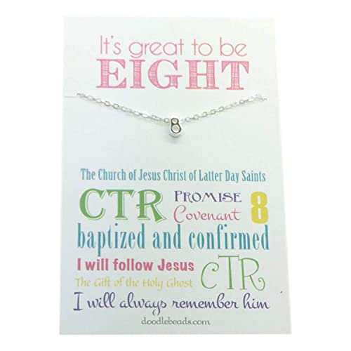 Amazon.com: Doodle Beads It's Great to be 8 - LDS Baptism Gift - Baptismal Preview - Tiny Silver 8 Necklace Gift: Jewelry
