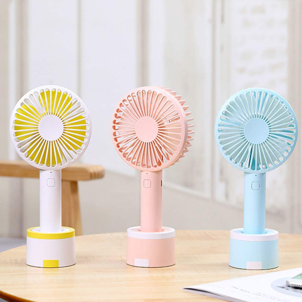 Mini Handhold Fan for Women,Best Summer Gift Portable Air Cooling Removable base USB Fan with Phone Holder Fans for Desk Home Speed Adjustable Cute Fan for Travelers and Office Workers(WA-Blue) by MIYA LTD (Image #8)