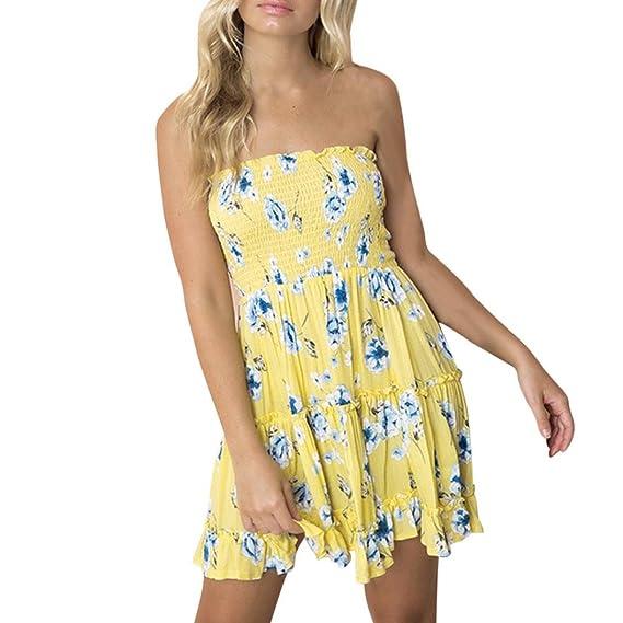 Vestidos de Mujer, ASHOP Vestido Verano 2018 Sin Mangas Casual Ajustados T-Shirt Vestido Coctel Fiesta Mini Dress Raya Estampado de Flores Boho Playa Falda ...