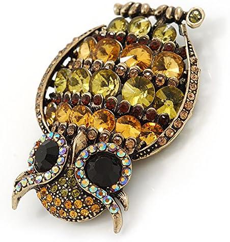 Grand Cristal Inspiration vintage hibou Broche//Pendentif en bronze Tone Olive, Citrine / /63/mm L