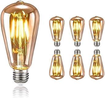 Oferta amazon: tronisky Retro Edison Bombillas, Vintage LED Bombillas de Filamento E27 4W Antiguo Edison Lámpara Blanco Cálido Bombillas Decorativa for Casa, Restaurante, Bar, Cafetería, Tienda - 6 Piezas           [Clase de eficiencia energética A]