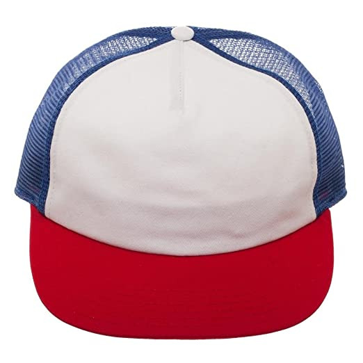 506b6f096bd Image Unavailable. Image not available for. Color  Bioworld Dustin Mesh  Back Trucker Cap Snapback Hat Red White Blue