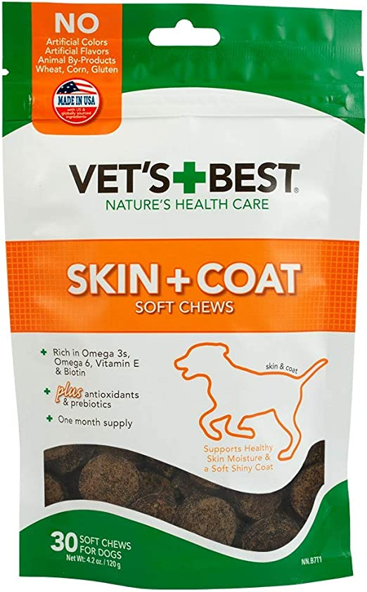 Vet's Best Skin & Coat Soft Chew Dog Supplements   Formulated with Vitamin E & Biotin To Maintain Dogs Healthy Skin & Coat   30 Day Supply