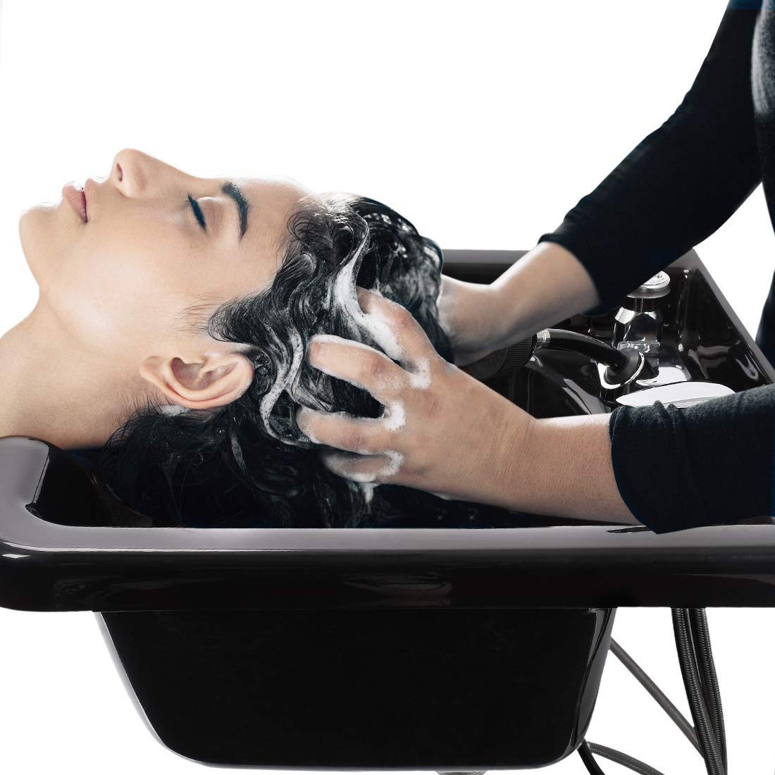 Shampoo Bowl Acrylic Fiber Lightweight Hair Wash Basin with Shower and Pipe System for Hair Salon and Barber Accessories