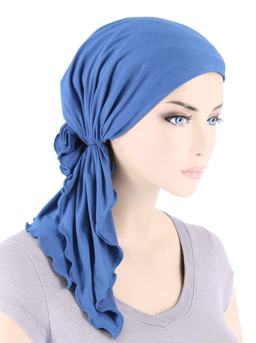 The Bella Scarf Lux Ultra Soft Bamboo Chemo Cancer Turban Head Scarves Pre-Tied Periwinkle Blue
