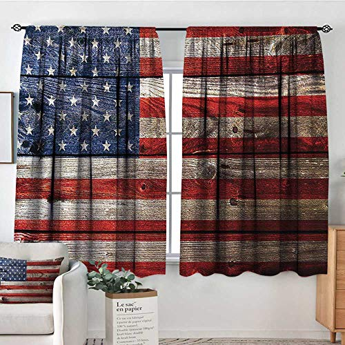 Tm Performance Emblem - Mozenou USA Window Curtain Drape Fourth of July Independence Day Weathered Retro Wood Wall Looking Country Emblem Decorative Curtains for Living Room 72