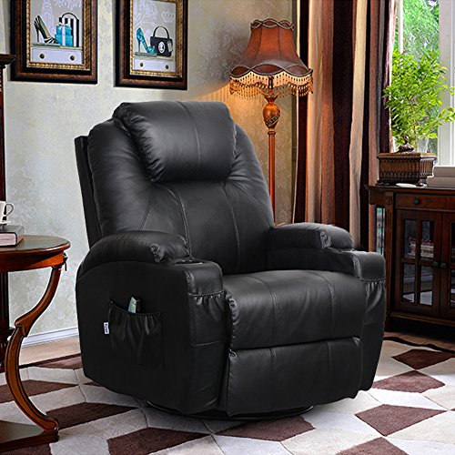 360 Degree Swivel Massage Recliner Leather Sofa Chair Ergonomic Lounge Swivel Heated with Control (Black)