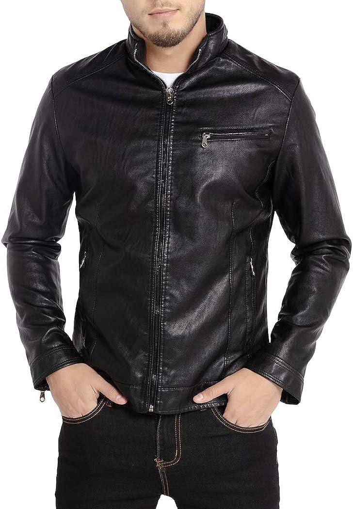 AILMY Mens Leather Jacket Cool London Luxury Slim Lapel PU Leather Casual Biker Jacket