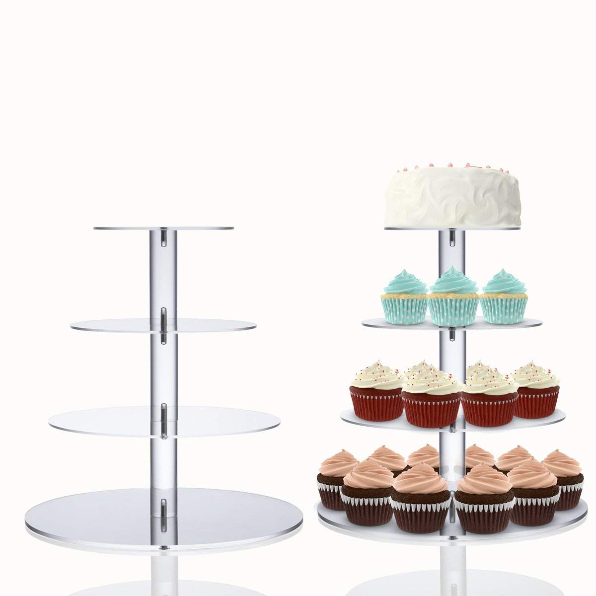 Cupcake Stand, 3-Tier Cake Cupcake Stand Square Cake Holder Acrylic Dessert Display Cupcake displays for Weddings Birthday Party