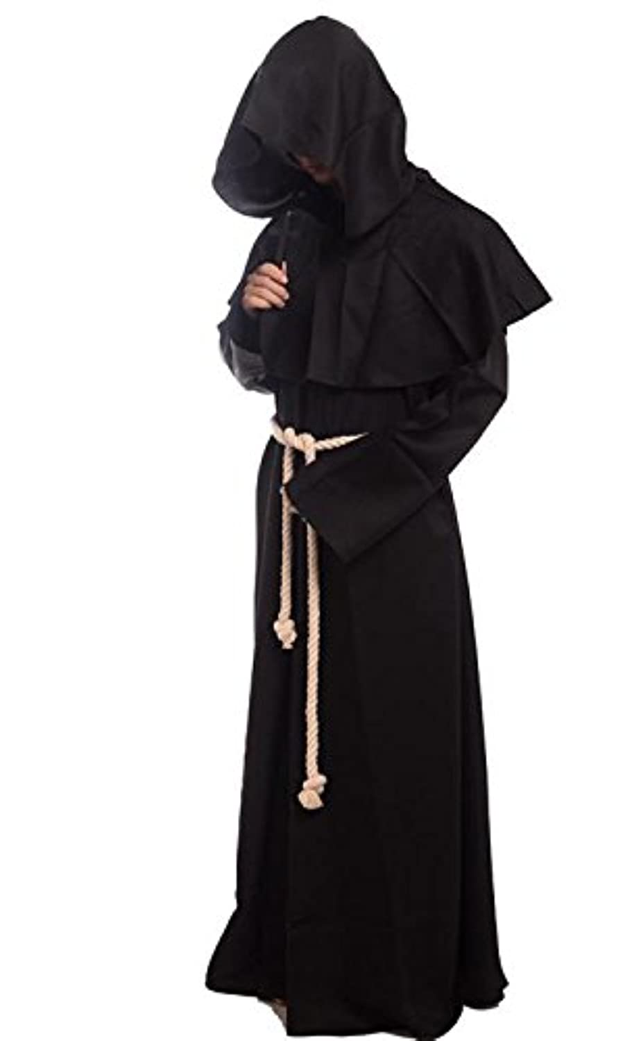 Amazon.com: Friar Medieval Hooded Monk Renaissance Priest Robe ...
